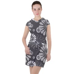 Floral Pattern Drawstring Hooded Dress