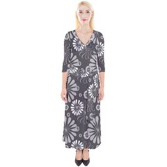 Floral Pattern Quarter Sleeve Wrap Maxi Dress by HermanTelo