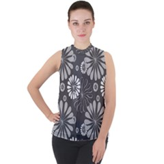 Floral Pattern Mock Neck Chiffon Sleeveless Top by HermanTelo