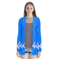 Fish School Bubbles Underwater Sea Drape Collar Cardigan