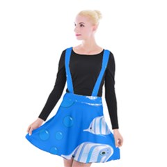 Fish School Bubbles Underwater Sea Suspender Skater Skirt