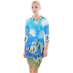 Fish Underwater Sea World Quarter Sleeve Hood Bodycon Dress by HermanTelo