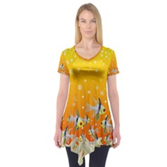 Fish Snow Coral Fairy Tale Short Sleeve Tunic