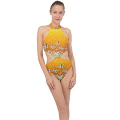 Fish Snow Coral Fairy Tale Halter Side Cut Swimsuit