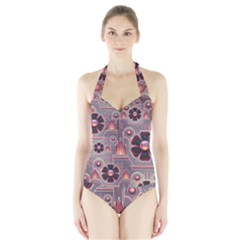 Floral Flower Stylised Halter Swimsuit by HermanTelo