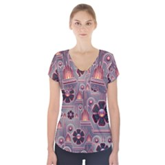 Floral Flower Stylised Short Sleeve Front Detail Top