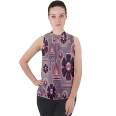 Floral Flower Stylised Mock Neck Chiffon Sleeveless Top by HermanTelo