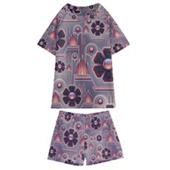 Floral Flower Stylised Kids  Swim Tee And Shorts Set