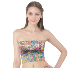 Floral Flowers Abstract Art Tube Top