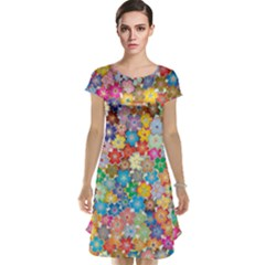 Floral Flowers Abstract Art Cap Sleeve Nightdress