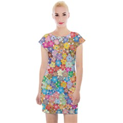 Floral Flowers Abstract Art Cap Sleeve Bodycon Dress by HermanTelo