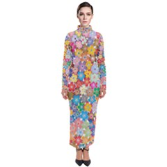 Floral Flowers Abstract Art Turtleneck Maxi Dress by HermanTelo
