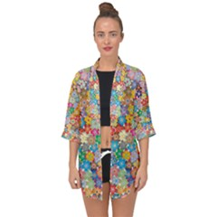 Floral Flowers Abstract Art Open Front Chiffon Kimono