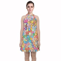 Floral Flowers Abstract Art Velvet Halter Neckline Dress