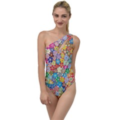 Floral Flowers Abstract Art To One Side Swimsuit by HermanTelo