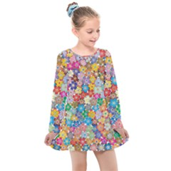 Floral Flowers Abstract Art Kids  Long Sleeve Dress by HermanTelo