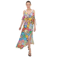 Floral Flowers Abstract Art Maxi Chiffon Cover Up Dress by HermanTelo