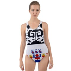 Folk Art Fabric Cut-out Back One Piece Swimsuit