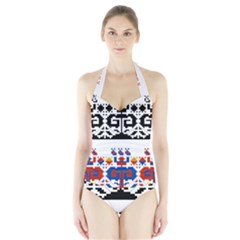 Folk Art Fabric Halter Swimsuit by HermanTelo