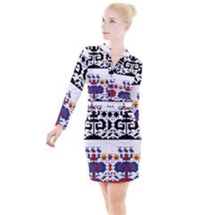 Folk Art Fabric Button Long Sleeve Dress