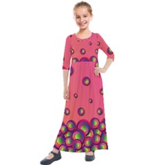 Funny Texture Kids  Quarter Sleeve Maxi Dress by HermanTelo
