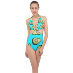Fruite Avocado Halter Front Plunge Swimsuit by HermanTelo