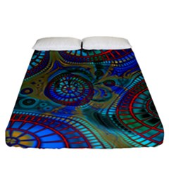 Fractal Abstract Line Wave Fitted Sheet (california King Size)