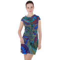 Fractal Abstract Line Wave Drawstring Hooded Dress