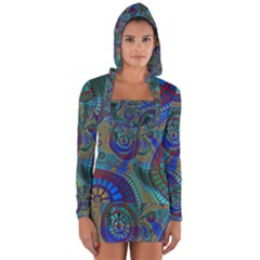 Fractal Abstract Line Wave Long Sleeve Hooded T-shirt by HermanTelo