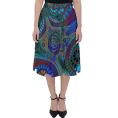 Fractal Abstract Line Wave Classic Midi Skirt