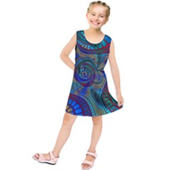 Fractal Abstract Line Wave Kids  Tunic Dress by HermanTelo