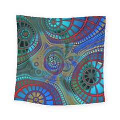 Fractal Abstract Line Wave Square Tapestry (small) by HermanTelo