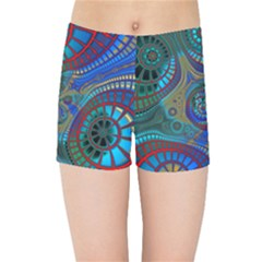 Fractal Abstract Line Wave Kids  Sports Shorts by HermanTelo