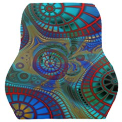 Fractal Abstract Line Wave Car Seat Back Cushion