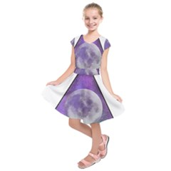 Form Triangle Moon Space Kids  Short Sleeve Dress