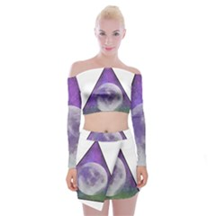 Form Triangle Moon Space Off Shoulder Top With Mini Skirt Set