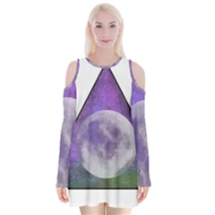 Form Triangle Moon Space Velvet Long Sleeve Shoulder Cutout Dress