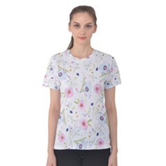 Floral Pink Blue Women s Cotton Tee