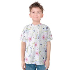 Floral Pink Blue Kids  Cotton Tee