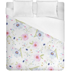 Floral Pink Blue Duvet Cover (california King Size) by HermanTelo