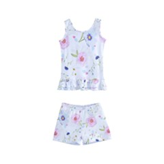Floral Pink Blue Kids  Boyleg Swimsuit by HermanTelo