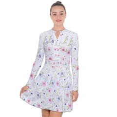 Floral Pink Blue Long Sleeve Panel Dress