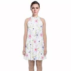 Floral Pink Blue Velvet Halter Neckline Dress