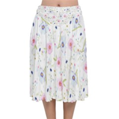 Floral Pink Blue Velvet Flared Midi Skirt by HermanTelo