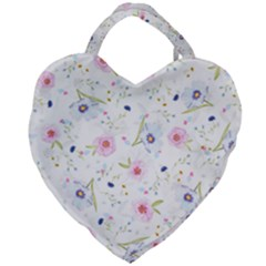 Floral Pink Blue Giant Heart Shaped Tote by HermanTelo