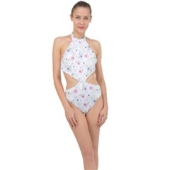 Floral Pink Blue Halter Side Cut Swimsuit by HermanTelo