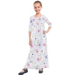 Floral Pink Blue Kids  Quarter Sleeve Maxi Dress by HermanTelo