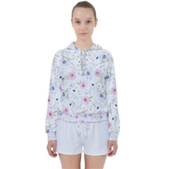 Floral Pink Blue Women s Tie Up Sweat by HermanTelo