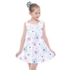 Floral Pink Blue Kids  Summer Dress by HermanTelo