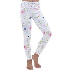 Floral Pink Blue Kids  Lightweight Velour Classic Yoga Leggings by HermanTelo